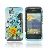 T-Mobile MyTouch Q Hard Case - Yellow Lily &amp; Swirls on Turquoise/ Black