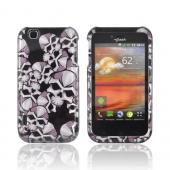T-Mobile MyTouch Hard Case - Silver Skulls on Black