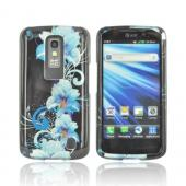 LG Nitro Hard Case - Blue Flowers on Black