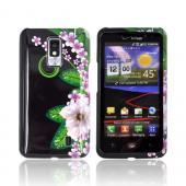 LG Spectrum Hard Case - White/ Green Flower on Black
