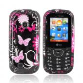 LG Cosmos 2 UN251 Hard Case - Pink Butterflies &amp; Flowers on Black