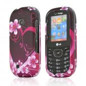 LG Cosmos 2 VN251 Hard Case - Hot Pink/ Purple Flowers & Hearts