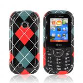 LG Cosmos 2 VN251 Hard Case - Red, Black, & Gray Argyle
