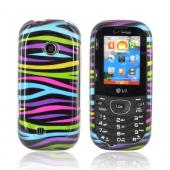 LG Cosmos 2 VN251 Hard Case - Rainbow Zebra on Black