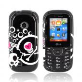 LG Cosmos 2 VN251 Hard Case - White Skulls &amp; Pink Hearts on Black