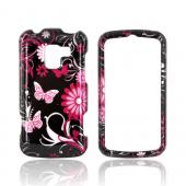 LG Enlighten VS700 Hard Case - Pink Flowers &amp; Butterflies on Black