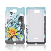 LG Lucid 4G Hard Case - Yellow Lily w/ Swirls on Turquoise/ Black