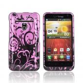 LG Revolution, LG Esteem Hard Case - Black Vines on Pink