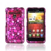 LG Revolution, LG Esteem Hard Case - Hot Pink/ Pink/ Magenta Flower Petals