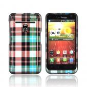 LG Revolution, LG Esteem Hard Case - Plaid Pattern on Blue/ Brown/ Silver