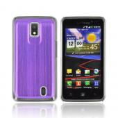 LG Spectrum Hard Back Case w/ Aluminum Back &amp; Clear Bumper - Purple