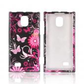 LG Optimus VS930 (Optimus LTE II) Hard Case - Pink Flowers &amp; Butterflies on Black