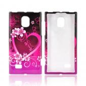 LG Spectrum 2 Hard Case - Hot Pink/ Purple Flowers &amp; Heart