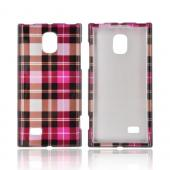 LG Optimus VS930 (Optimus LTE II) Hard Case - Plaid Pattern of Pink/ Hot Pink/ Brown/ Gray