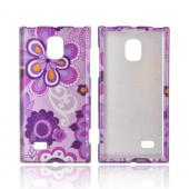 LG Optimus VS930 (Optimus LTE II) Hard Case - Purple/ Pink Retro Flower