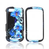 Motorola CLIQ 2 Hard Case - Blue Flower on Black