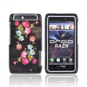 Motorola Droid RAZR Hard Case - Blooming Flowers w/Dots on Black