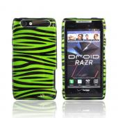 Motorola Droid RAZR Hard Case - Green/ Black Zebra