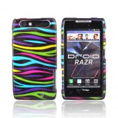 Motorola Droid RAZR Hard Case - Rainbow Zebra on Black
