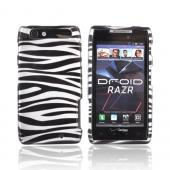 Motorola Droid RAZR Hard Case - Silver/ Black Zebra