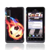 Motorola Droid 3 Hard Case - Flaming Soccer Ball on Black