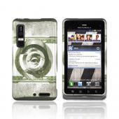 Motorola Droid 3 Rubberized Hard Case - Green 100 Bill Magnified Eye on Silver