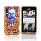 Motorola Droid 3 Hard Case - Blue Skull w/ Stars on Gold
