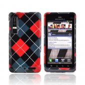 Motorola Droid 3 Hard Case - Red/ Gray/ Black Argyle