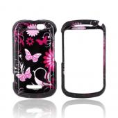 Motorola Clutch+ i475 Hard Case - Pink Flowers &amp; Butterflies on Black