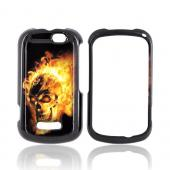 Motorola Clutch+ i475 Hard Case - Flaming Skull on Black