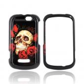 Motorola Clutch+ i475 Hard Case - Skull &amp; Roses on Black