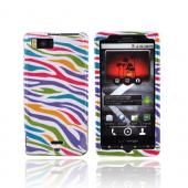 Talon Motorola Droid X MB810 Hard Case - Rainbow/White Zebra