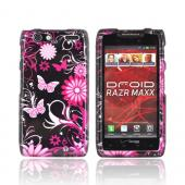 Motorola Droid RAZR MAXX Hard Case - Pink Butterflies &amp; Flowers on Black