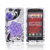 Motorola Droid RAZR MAXX Hard Case - Purple Lily w/ Black on White