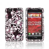 Motorola Droid RAZR MAXX Hard Case - Silver Skulls on Black