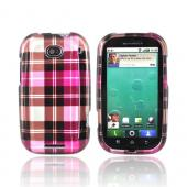Luxmo Motorola Bravo MB520 Hard Case - Plaid Pattern of Hot Pink, Brown, Pink