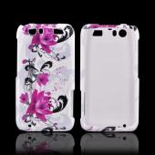 Motorola Atrix HD Hard Case - Magenta Flower & Black Vines on White