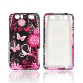 Motorola Atrix HD Hard Case - Pink Flowers &amp; Butterflies on Black