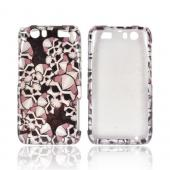 Motorola Atrix HD Hard Case - Silver Skulls on Black