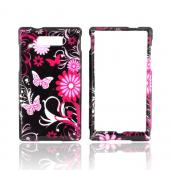 Motorola Triumph Hard Case - Pink Flowers & Butterflies on Black