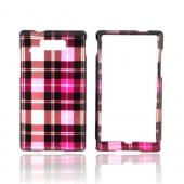 Motorola Triumph Hard Case - Plaid Pattern of Pink, Hot Pink, Brown, &amp; Silver