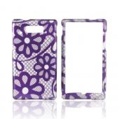Motorola Triumph Hard Case - Purple Lace Flowers on Silver