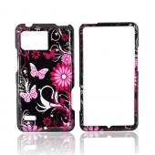 Motorola Droid Bionic XT875 Hard Case - Pink Flowers &amp; Butterflies on Black