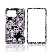 Motorola Droid Bionic XT875 Hard Case - Silver Skulls on Black