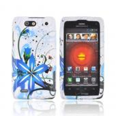 Motorola Droid 4 Hard Case - Blue Flower Splash on White
