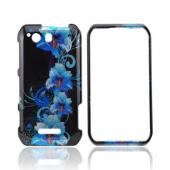 Motorola Photon Q 4G LTE Hard Case - Blue Flower on Black
