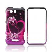 Motorola Photon Q 4G LTE Hard Case - Pink Heart and Flowers on Black