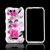 Motorola Photon Q 4G LTE Hard Case - Magenta Flowers &amp; Black Vines on White