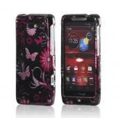 Pink Flowers & Butterflies on Black Hard Case for Motorola Droid RAZR M