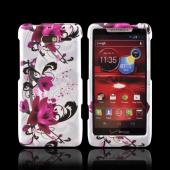 Motorola Droid RAZR M Hard Case - Magenta Flowers & Black Vines on White